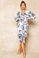 boohoo Floral Print Plunge Tie Waist Midi Dress