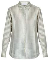 Luisa Beccaria Point-collar striped linen-blend shirt