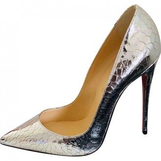 Christian Louboutin So Kate Silver Leather Heels