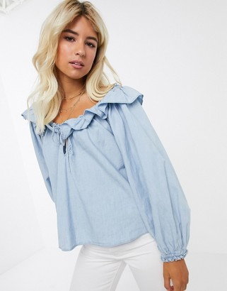 Free People valley chambray ruffle blouse