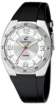 Calypso Men's Quartz Watch with Silver Dial Analogue Display and Black Plastic Strap K6044/1