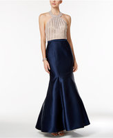 Xscape Evenings Beaded Open-Back Mermaid Halter Gown