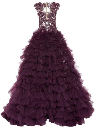 Pamella Roland Tulle Gown With Embroidered Bodice