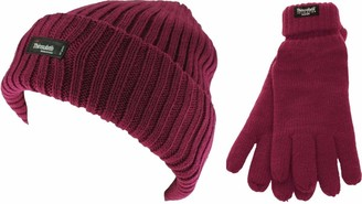 Ssp Thinsulate Ladies Chunky Beanie Ski Hat Bundle with Matching Gloves (2 Items) in Raspberry Size: One Size