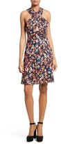Tracy Reese Floral Print Stretch Silk Halter Dress