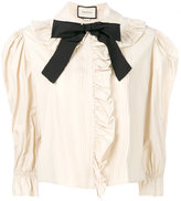 Gucci bow frilled blouse - women - Silk/Cotton/Spandex/Elastane - 36