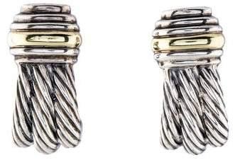 David Yurman Two-Tone Cable Earclip Earrings
