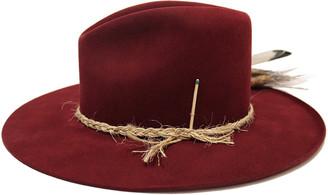 Nick Fouquet Scarlett Beaver Felt Fedora Hat w/ Feather Trim