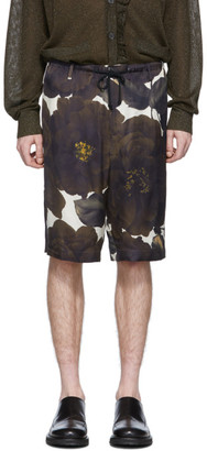 Dries Van Noten Green and Black Floral Shorts