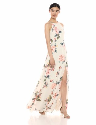 Jenny Yoo Women's Kayla A-Line Halter Floral Printed Chiffon Long Dress