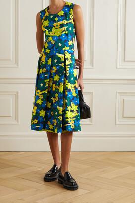 Marni - Pleated Floral-print Cotton-poplin Midi Dress - Green