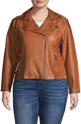 Max Studio Plus Faux Leather Moto Jacket