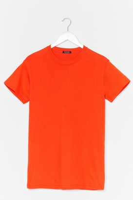 Nasty Gal Face the Facts Basic Relaxed Tee - Orange - S