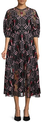 Valentino Embroidered Heart Cotton-Blend Dress
