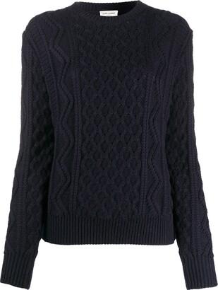 Saint Laurent Cable-Knit Wool Jumper