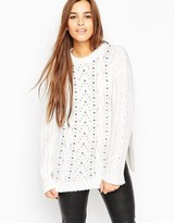 Asos Oversized Cable Sweater With Stud Detail