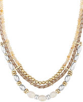 Lucky Brand Sun Kissed Moments Semi-Precious Rock Crystal Dual-Tone Beaded Leather Collar Necklace