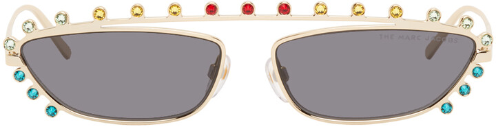 Thumbnail for your product : Marc Jacobs Gold Crystal-Cut Sunglasses