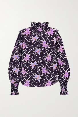 Etoile Isabel Marant Yoshi Shirred Floral-print Georgette Blouse