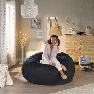 "Grove Lane Large Bean Bag Lounger Grovelane Fabric: Black, Size: 45"" H x 66"" W x 66"" D"