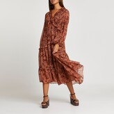 Thumbnail for your product : River Island Womens Rust floral ruffle detail smock midi dress