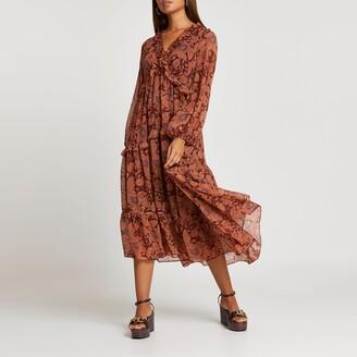 River Island Womens Rust floral ruffle detail smock midi dress