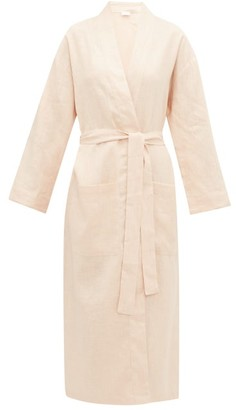 POUR LES FEMMES Belted Longline Linen Robe - Mid Pink