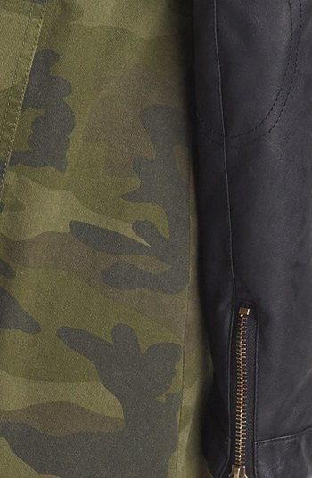 BCBGeneration Camo & Faux Leather Anorak