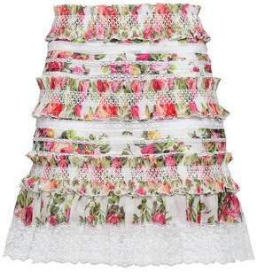 Zimmermann Radiate Lace-trimmed Floral-print Linen And Silk-blend Mini Skirt