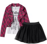Knitworks Girls 4-6x Plaid Jacket, Tulle Skort & Glitter Racerback Tank Set