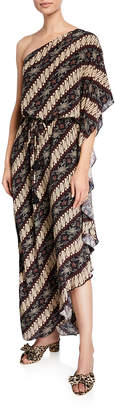 Figue Maisie One-Shoulder Diagonal-Striped Dress