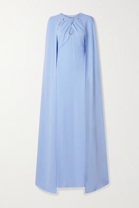 Marchesa Notte Cape-effect Cutout Crepe Gown - Sky blue