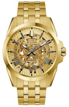 Bulova Men's Automatic Classic Sutton Gold-Tone Stainless Steel Bracelet Watch 46mm