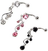 Set of 3 High Quality Surgical Steel Belly Button / Navel 14 Gauge Curved Bars Bananabells Piercings With Vine Shaped Twisted Pendants And Crystals / Rhinestones / Gemstones Dangles In Pink, Black And Transparent Colors By VAGA