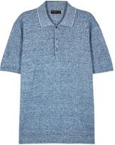 Corneliani Blue Cotton And Linen Blend Polo Shirt