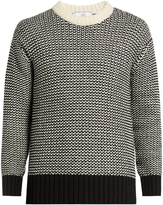 Ami Contrast knit wool-blend sweater