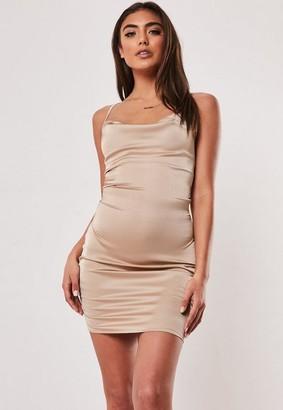 Missguided Stone Strappy Mini Dress