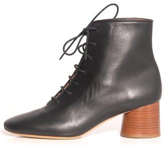 Mansur Gavriel Stacked Heel Lace Up Boot in Black
