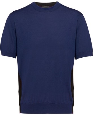 Prada two-tone knitted T-shirt