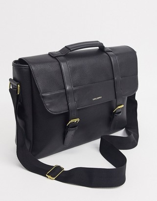 Asos DESIGN satchel in black faux leather with branding