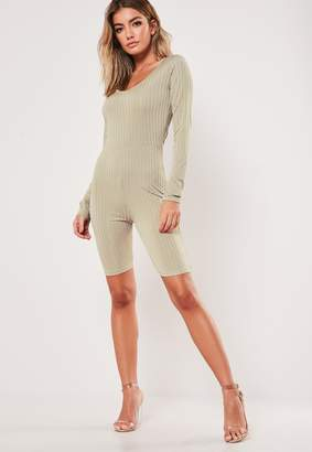 Missguided Stone Ribbed Scoop Neck Unitard Playsuit