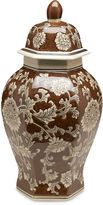 AA Importing 14 Floral Ginger Jar, Brown/Cream