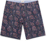 Faherty - Slim-Fit Indigo-Dyed Printed Linen and Cotton-Blend Shorts