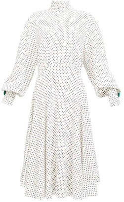 Christopher Kane Bishop-sleeve Polka Dot Midi Dress - White