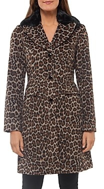 Kate Spade Leopard Print Faux Fur Collar Coat