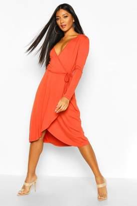 boohoo Jersey Wrap Front Midi Dress