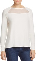 Red Haute Mesh Yoke Raglan Sleeve Top