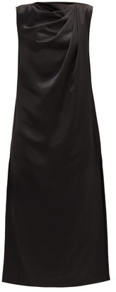 Marina Moscone Twist Shoulder Satin Midi Dress - Black