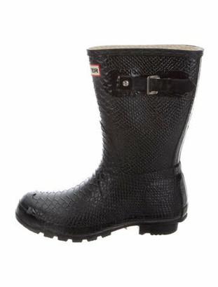 Hunter Rubber Animal Print Rain Boots Black