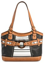 Bolo Women's Faux Leather Tote Handbag with Stripes and Zip Closure - Multicolor